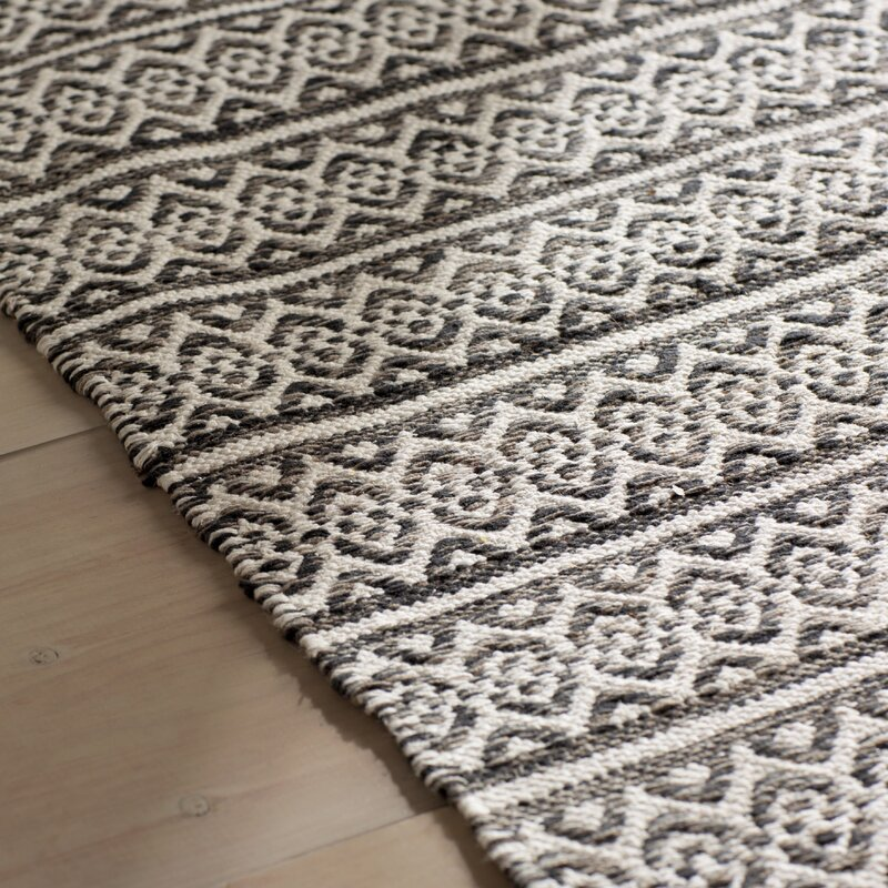 Oxbow Hand Woven Cotton Ivory Black Area Rug
