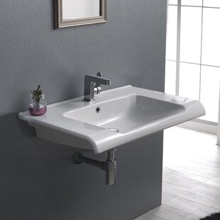 CeraStyle by Nameeks Anova Ceramic Rectangular Drop-In Bathroom Sink with Overflow