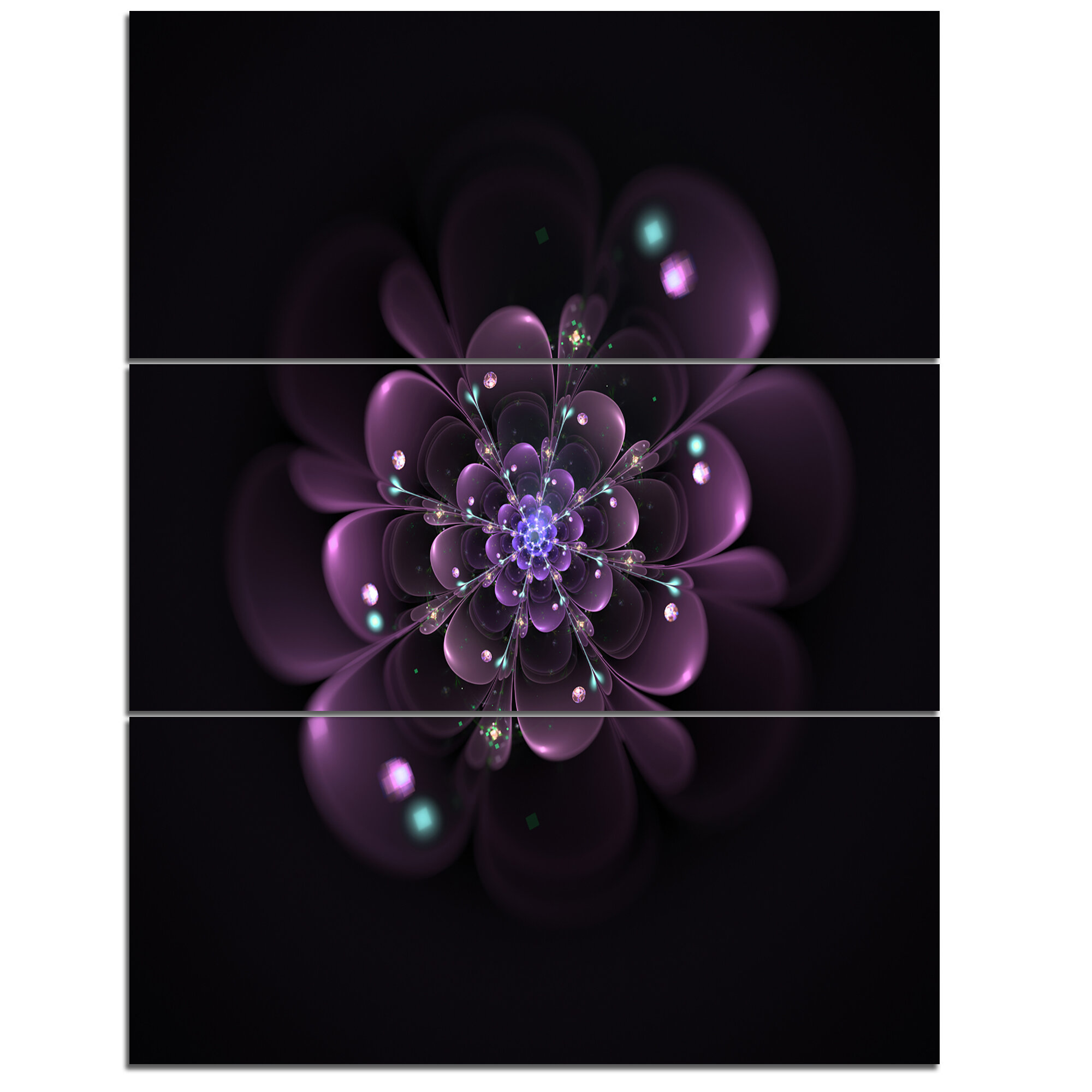 Designart Glowing Light Purple Fractal Flower On Black 3 Piece Graphic Art On Wrapped Canvas Set Wayfair