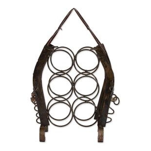 Massengill Hacienda Horseshoes Upcycled Horseshoe 6 Bottle Tabletop Wine Bottle Rack by Bloomsbury Market