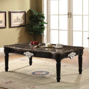 Almus Traditional Rectangular Marble and Wood Coffee Table