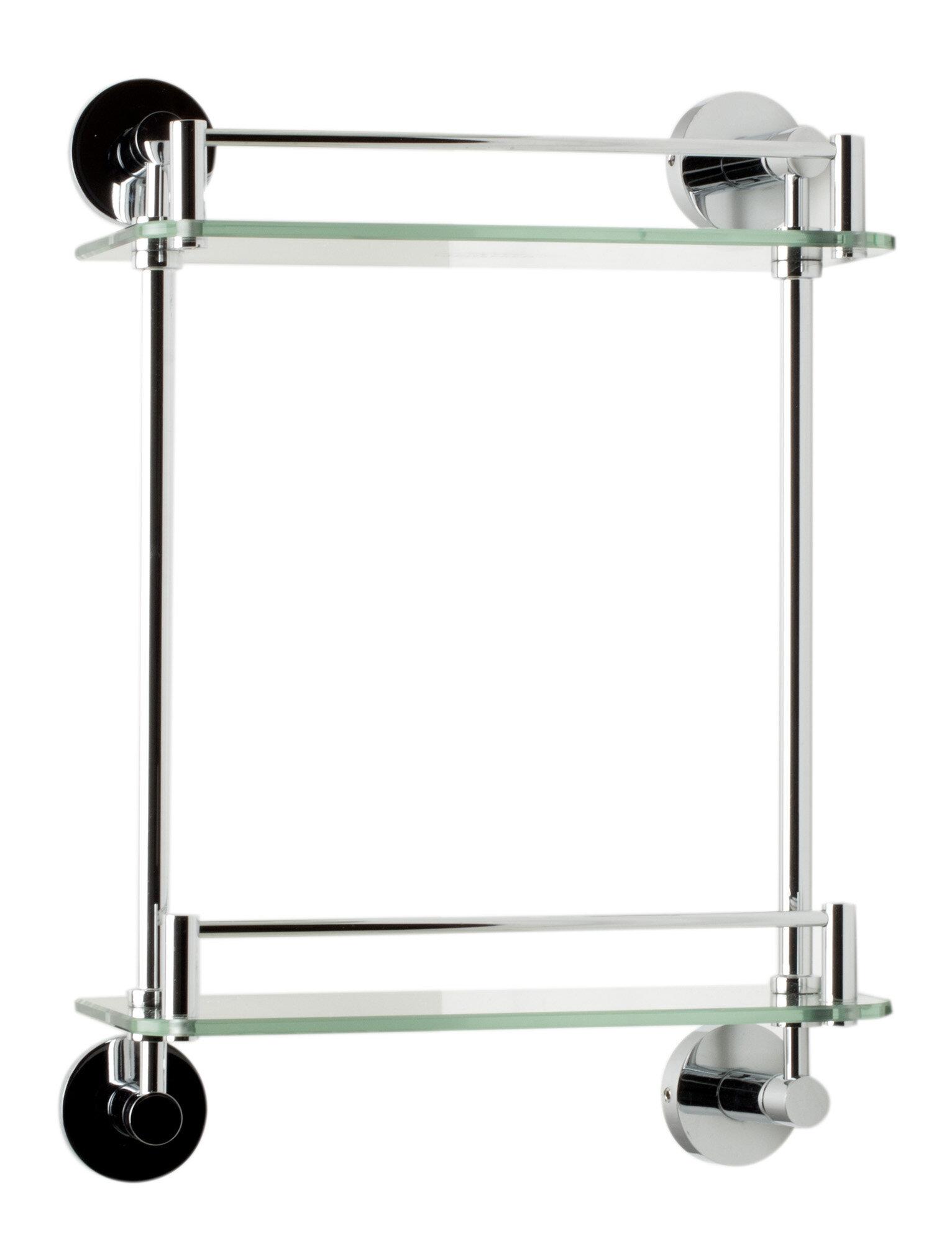 ALFI Brand AB9549 Polished Chrome Wall Mounted Double Glass Shower Shelf Bathroom  Accessory | Wayfair