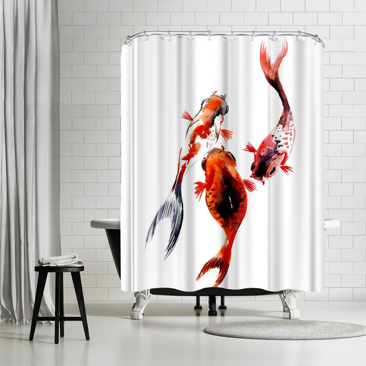 East Urban Home Suren Nersisyan Koi Fish Pond 2 1 Single Shower Curtain Wayfair