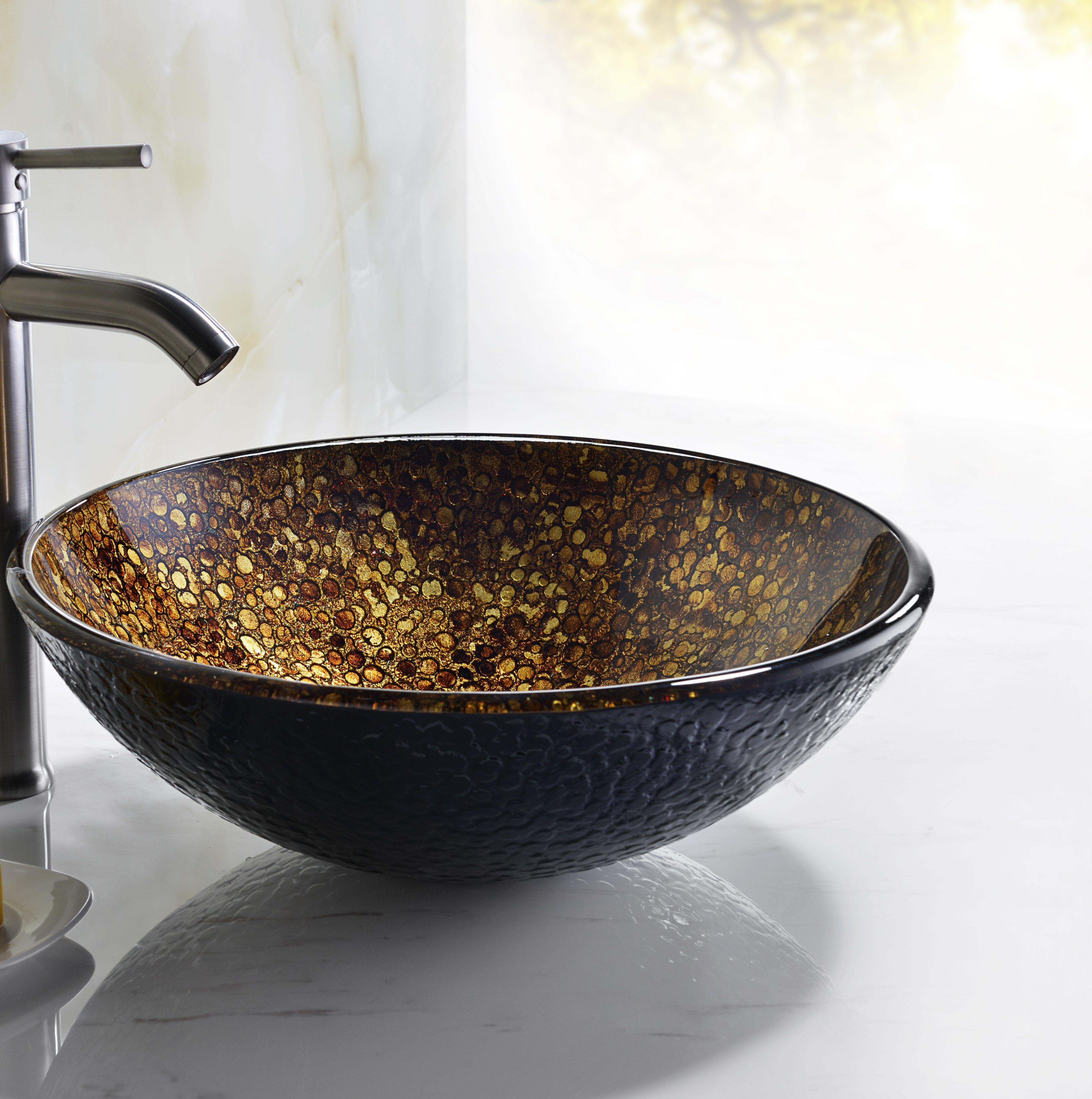 Anzzi Tara Idol Gold Tempered Glass Circular Vessel Bathroom Sink Wayfair
