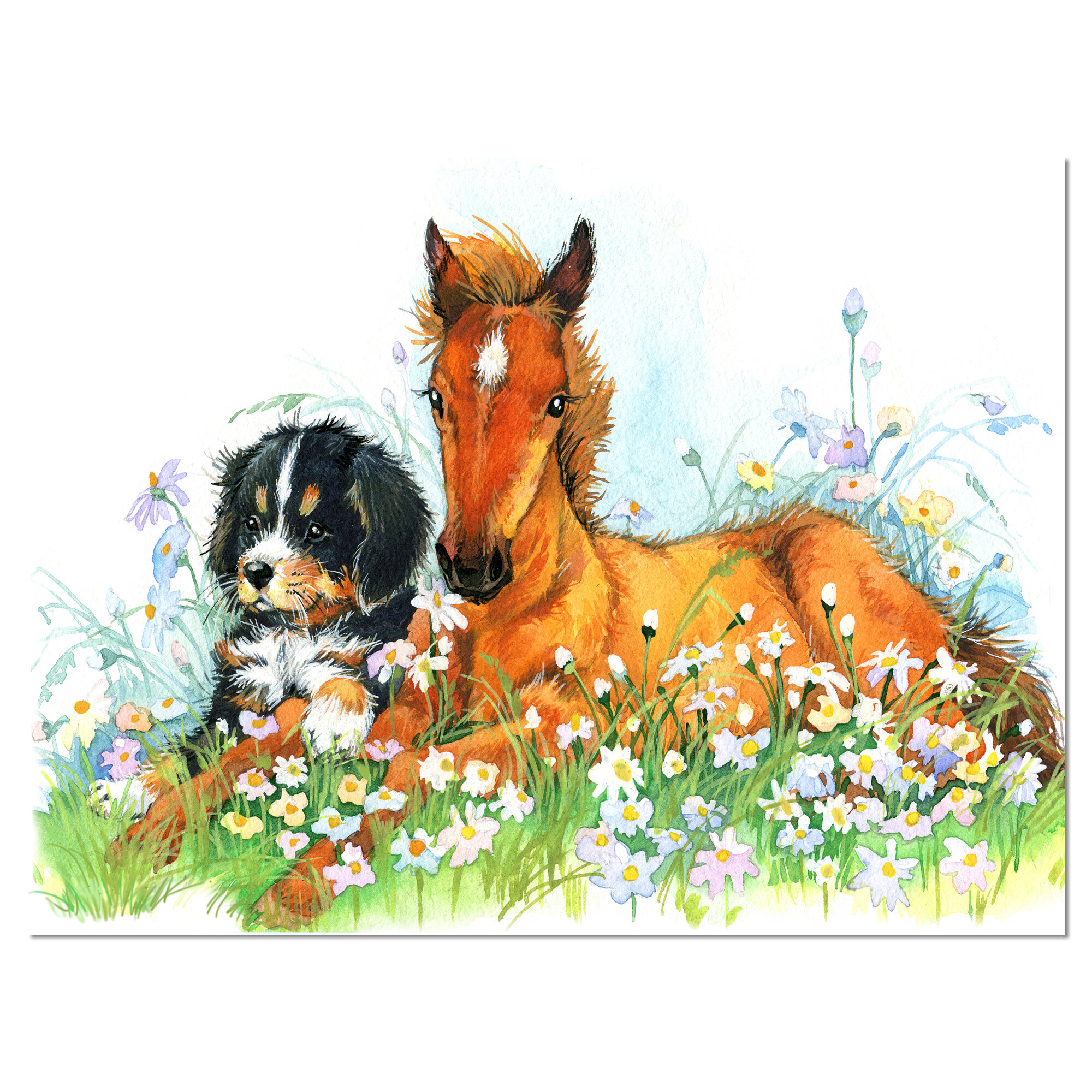 Designart Relaxing Brown Cute Horse Painting Print On Wrapped Canvas