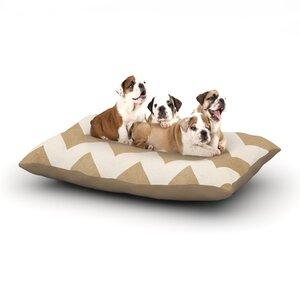 Catherine McDonald 'Biscotti and Cream' Chevron Dog Pillow with Fleece Cozy Top