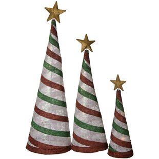 3 piece glittering christmas tree decoration set - Raz Christmas Decorations