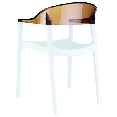 Anner Stacking Patio Dining Chair (Set of 4) Color: White/Transparent Amber by Zipcode Design