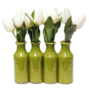 White Tulip Fl Arrangement In Milk Bottle Vase