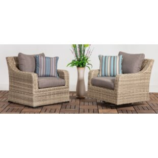 Rosecliff Heights Denny Patio Wicker Chair with Cushion (Set of 2)