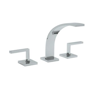 Rohl Wave Double Handle Widespread Kitchen Faucet with Pop-Up Drain and Metal Lever Handle
