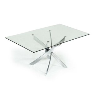 Coaling Metal and Glass Rectangular Dining Table by Orren Ellis