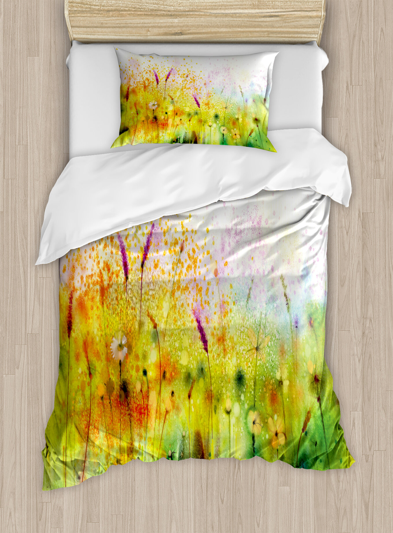 Ambesonne Flower Flat Sheet Multicolor Dandelions Featured in Garden Brushstrokes Watercolored Abstract Landscape Art Twin Size Soft Comfortable Top Sheet Decorative Bedding 1 Piece