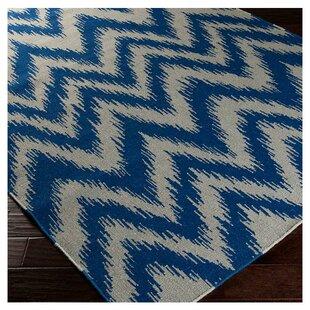 Marion Dark Blue Dove Grey Zig Zag Area Rug
