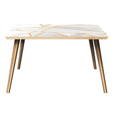 Bungalow Rose Marini Coffee Table  Table Top Color: Natural, Table Base Color: Brass