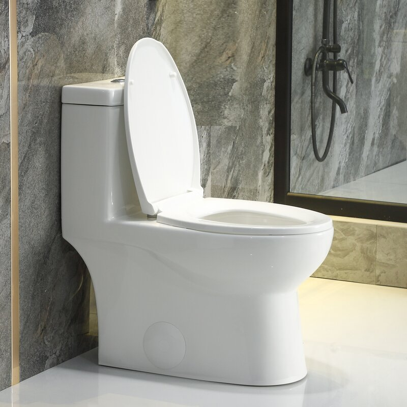 Horow 1 28 Gpf Water Efficient Elongated One Piece Toilet Seat Included Wayfair