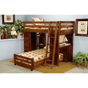 Ramos Twin Over Twin Loft Bed with Desk and Chest Ends by Harriet Bee