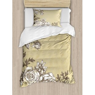 East Urban Home Grunge Style Old Vintage Flower Designs Hand Drawn Roses Ornamental Garden Print Duvet Set