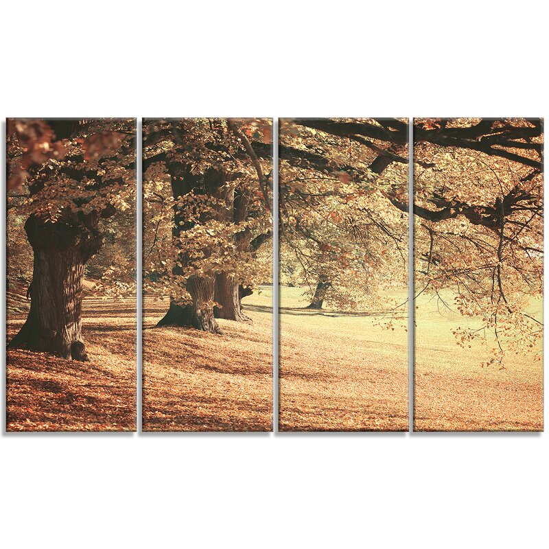Designart Dreamy Imagery Of Autumn Forest 4 Piece Wrapped Canvas Graphic Art Set On Canvas Wayfair