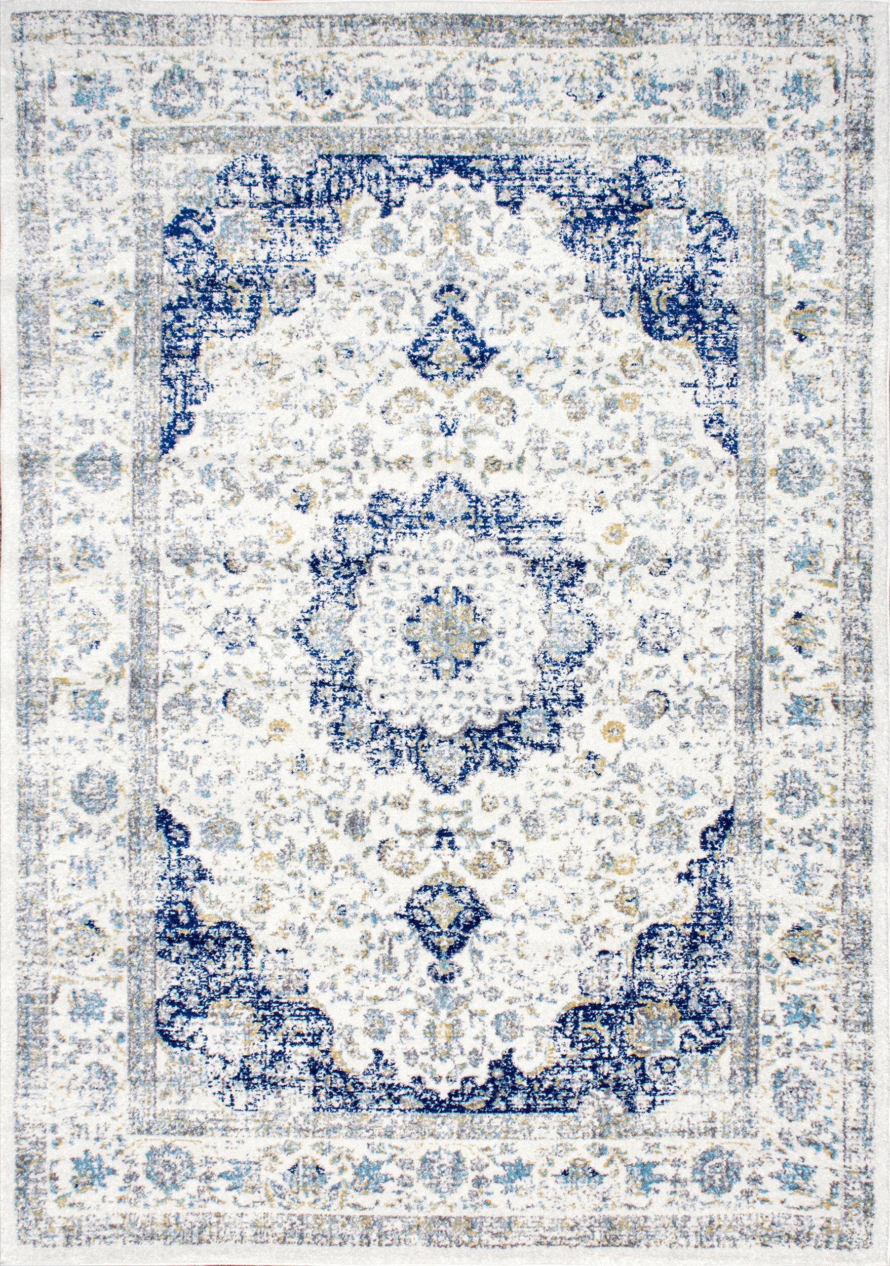 Three Posts Bonifant Power Loom Blue White Rug Reviews Wayfair Co Uk
