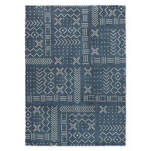 Geometric Woven Blue/White Area Rug