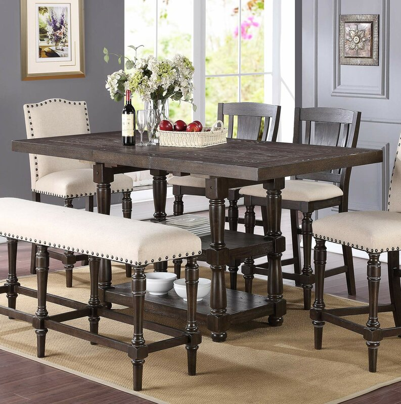 Farmhouse Extendable Dining Table Part - 39: Fortunat Counter Height Extendable Dining Table