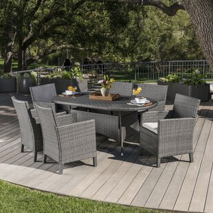 Argueta Outdoor Wicker 7 Piece Dining Set with Cushions