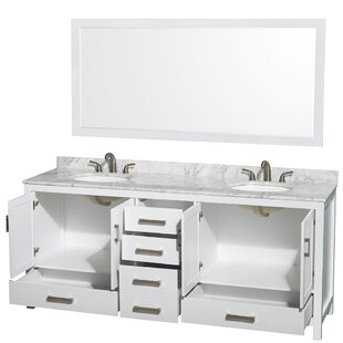Sheffield 80 Double White Bathroom Vanity Set with Mirror by Wyndham Collection
