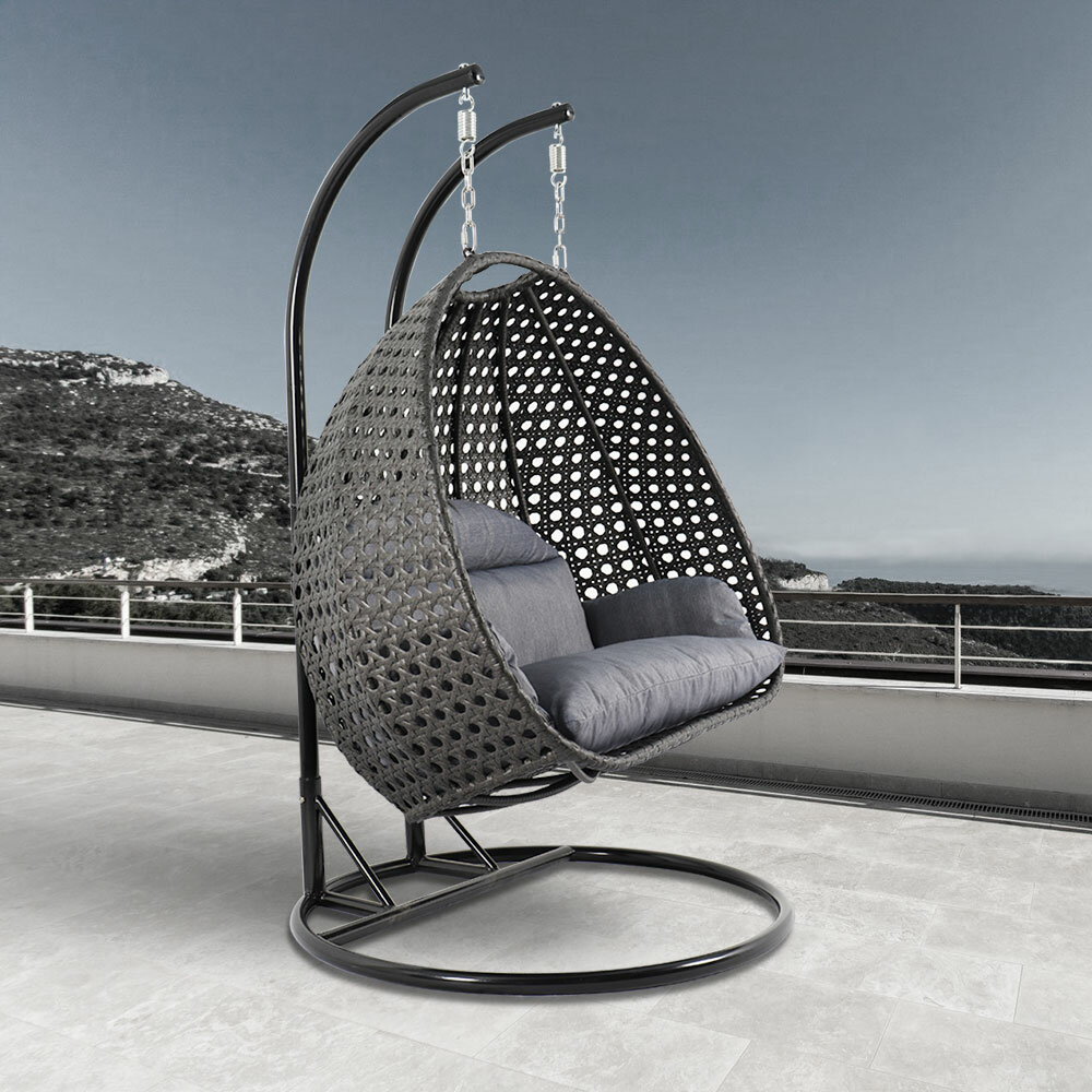 Sensational Schuster Wicker Hanging Egg Double Swing Chair With Stand Beutiful Home Inspiration Papxelindsey Bellcom
