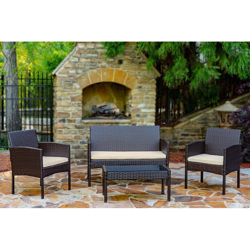 World Menagerie Tessio 4 Piece Rattan Sofa Seating Group with