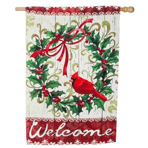 Cardinal Holly Wreath Suede Vertical Flag