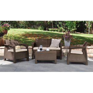 Berard 4 Piece Rattan Seating Group with Cushions
