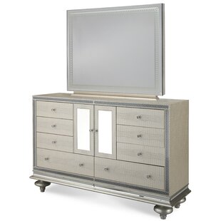 Michael Amini Hollywood Swank 9 Drawer Dresser with Mirror