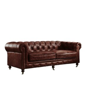Williston Forge Kasha Top Grain Leather Chesterfield Sofa