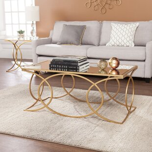 Everly Quinn Dunlin Geometric 2 Piece Coffee Table Set
