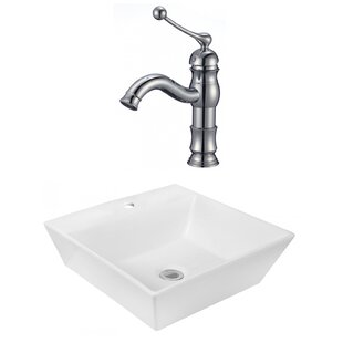 Best Choices Ceramic Square Vessel Bathroom Sink with Faucet ByRoyal Purple Bath Kitchen