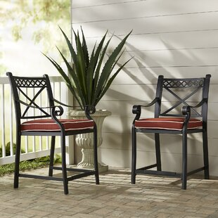 Nadine Patio Bar Stool with Cushion (Set of 2) by Fleur De Lis Living
