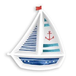 Emilio Nautical Sail Boat Melamine Divided Serving Dish
