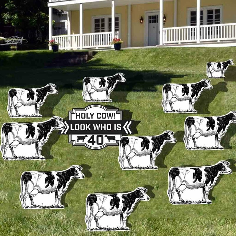 The Holiday Aisle 11 Piece Holy Cow 40th Birthday Yard Decoration Sign Set