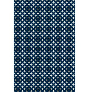 Bean Elegant Cross Design Blue/White Indoor/Outdoor Area Rug