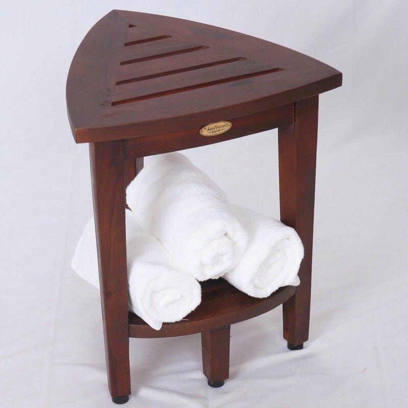 Decoteak Oasis Compact Teak Corner Shower Seat | Wayfair
