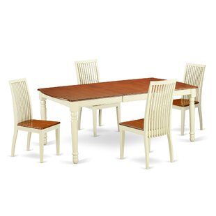 Pimentel 5 Piece Solid Wood Dining Set August Grove