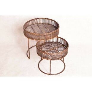 Check Prices Youssoufia Rattan 2 Piece Nesting Tables by Bloomsbury Market