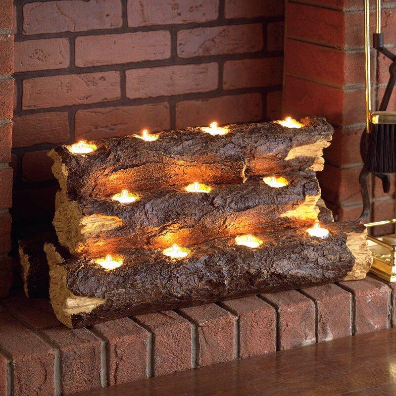 Wildon Home Tealight Fireplace Decorative Logs Reviews Wayfair