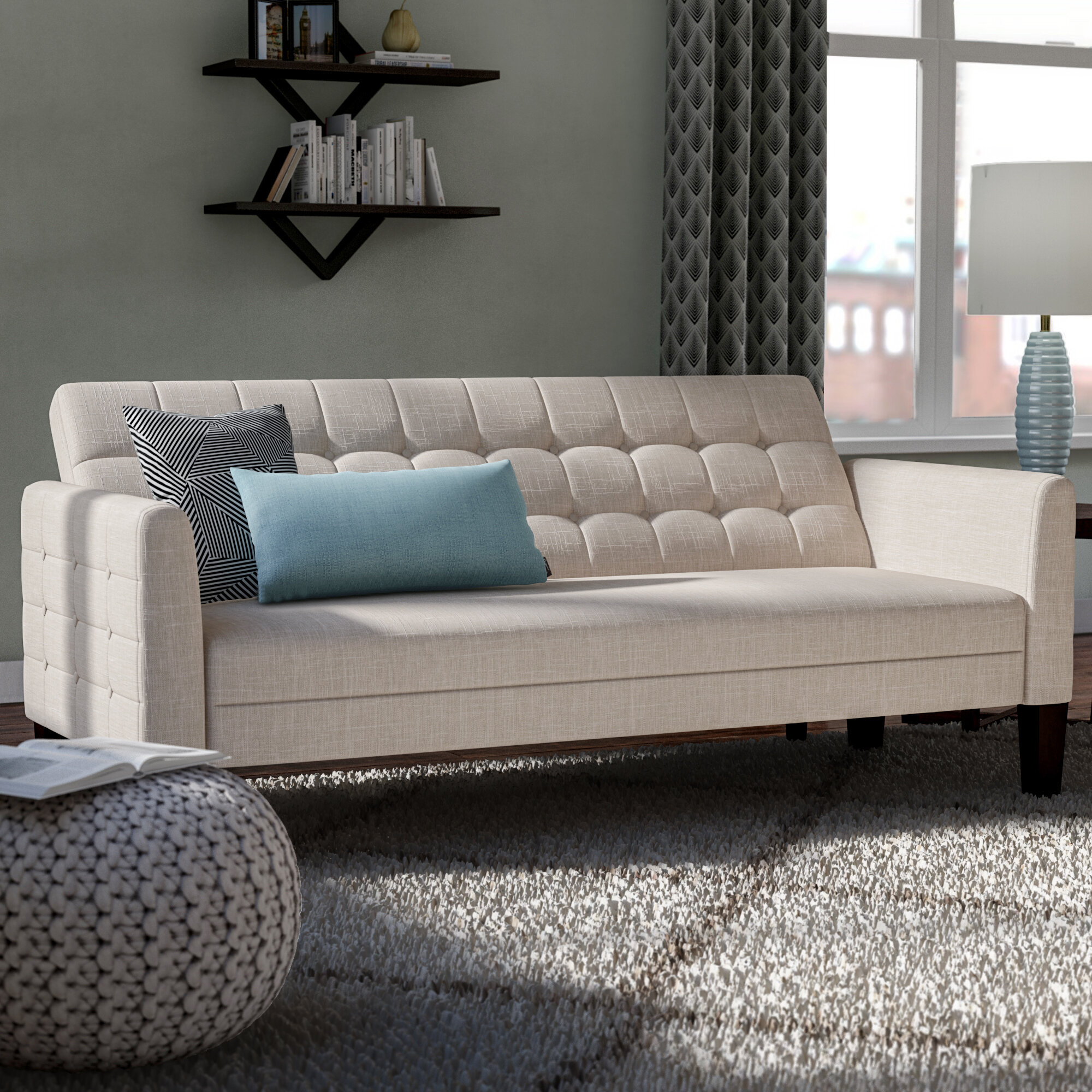 Picture of: Ebern Designs Tynemouth 63 Round Arm Sofa Bed Reviews Wayfair