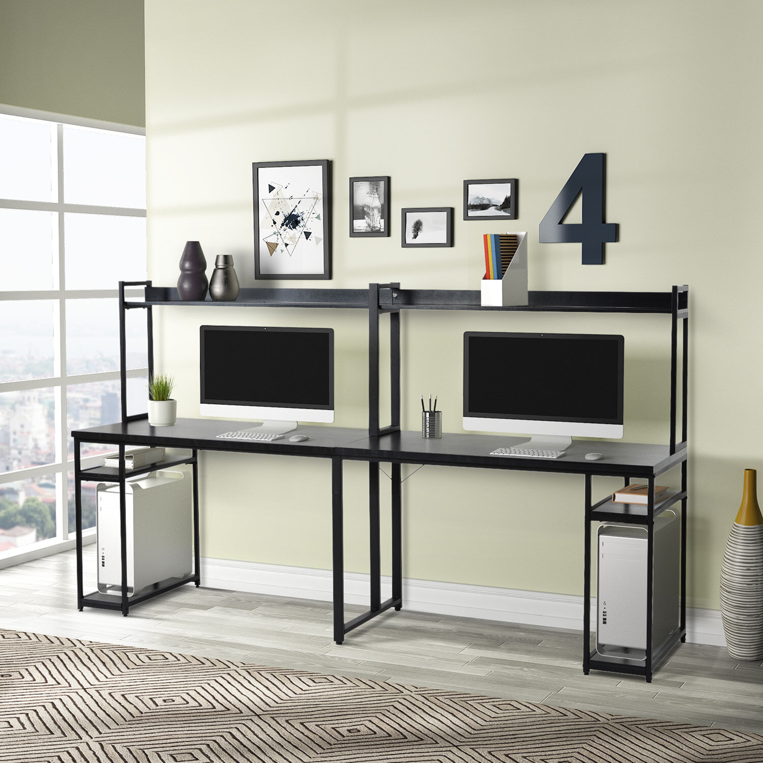 Inbox Zero Home Office Two Person Desk With Hutch Wayfair
