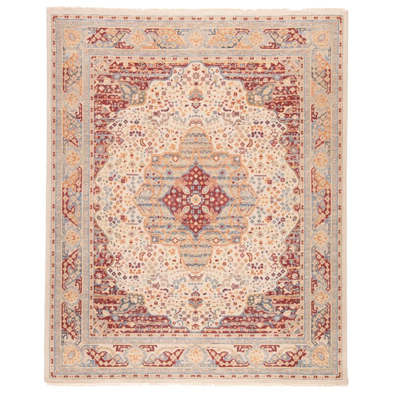 World Menagerie Bigley Oriental Hand Knotted Wool Ivory Red Area Rug Wayfair