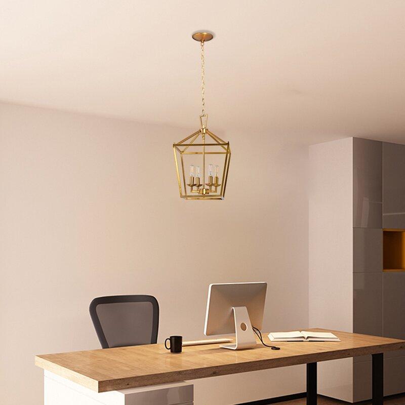 Gold Four-Light Lantern Pendant