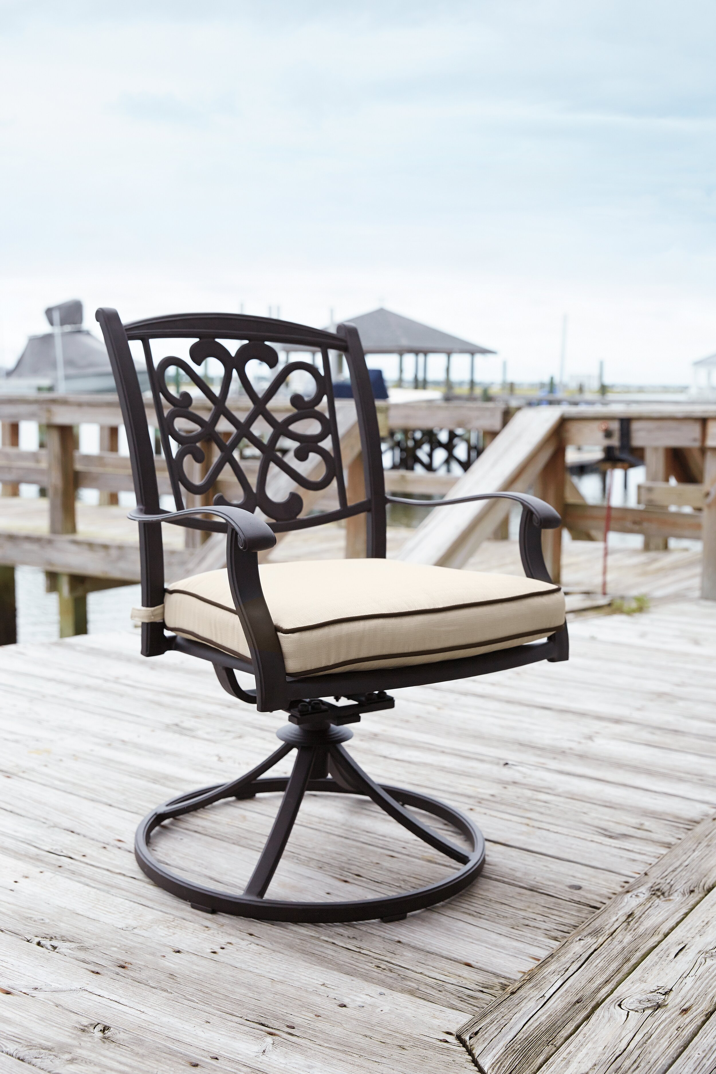 Darby Home Co Hanson Swivel Rocker Patio Dining Chair with Cushion