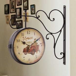 Rovel Rustic Vintage-Inspired Train Railway Station Wall Clock